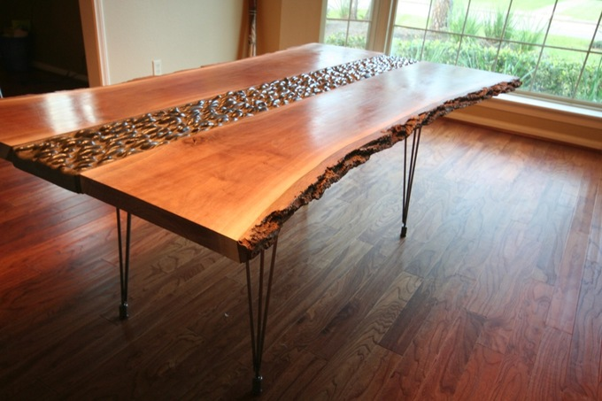 Beau Previous Table That I Made In 2014: Live Edge Walnut Slabs, River Rocks And  Steel 3 Pin Legs.